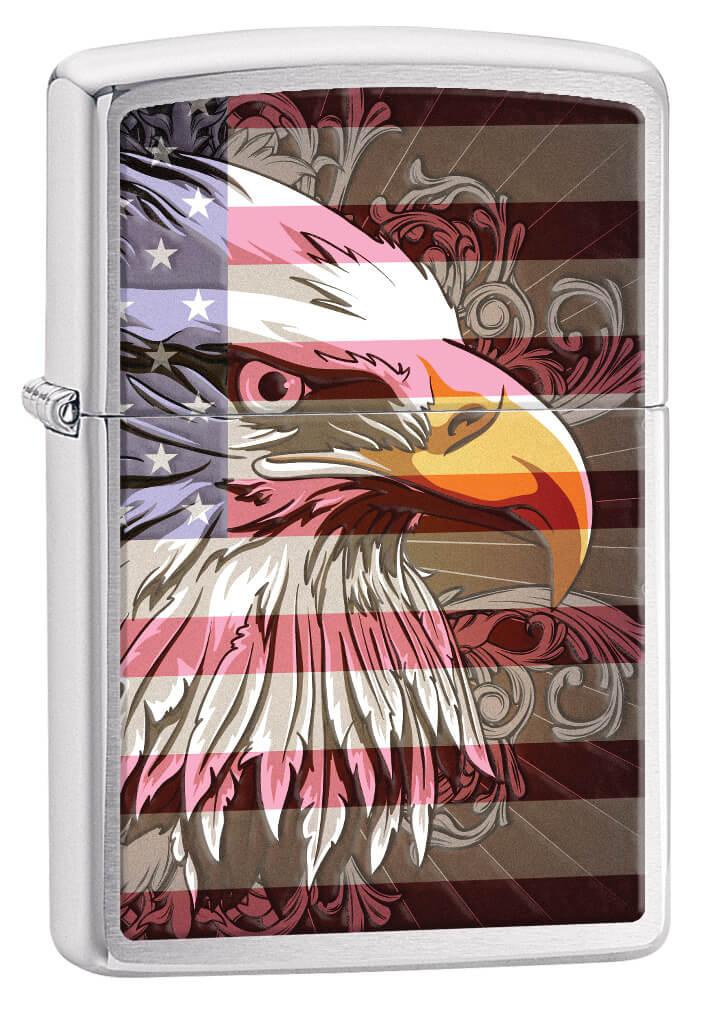 Eagle Flag Brushed Chrome Zippo Lighter