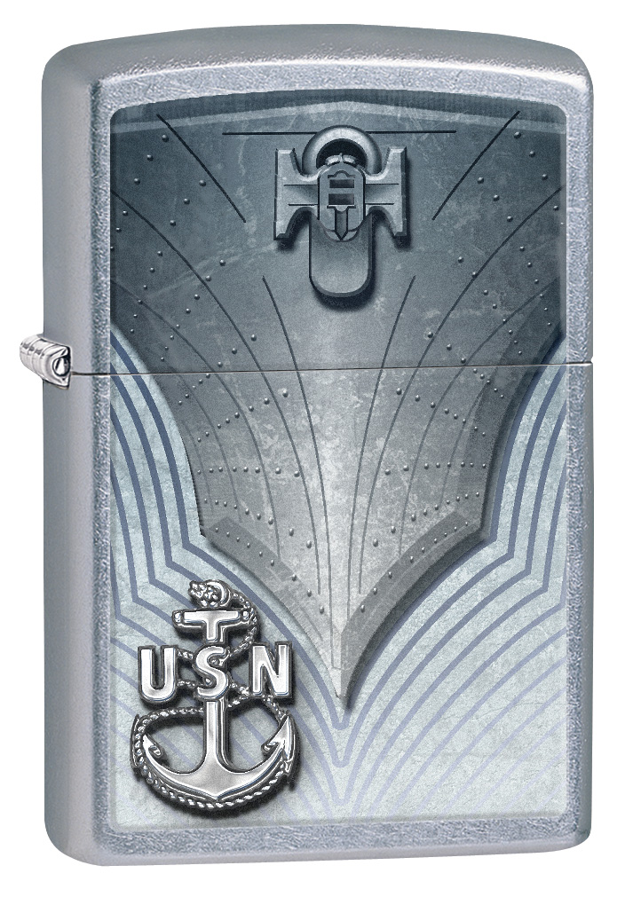 US Navy Brushed Chrome Zippo Lighter