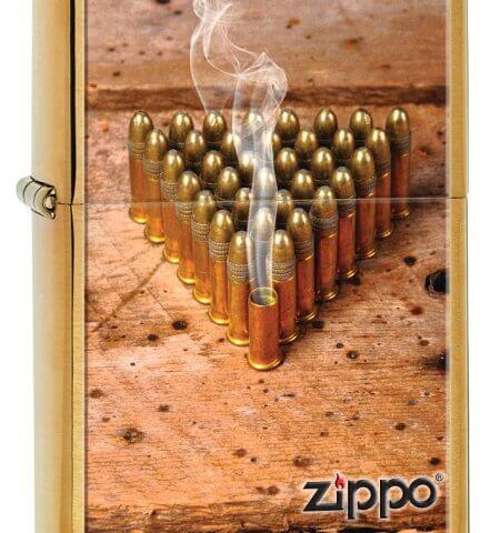 Bullets Brushed Chrome Zippo Lighter