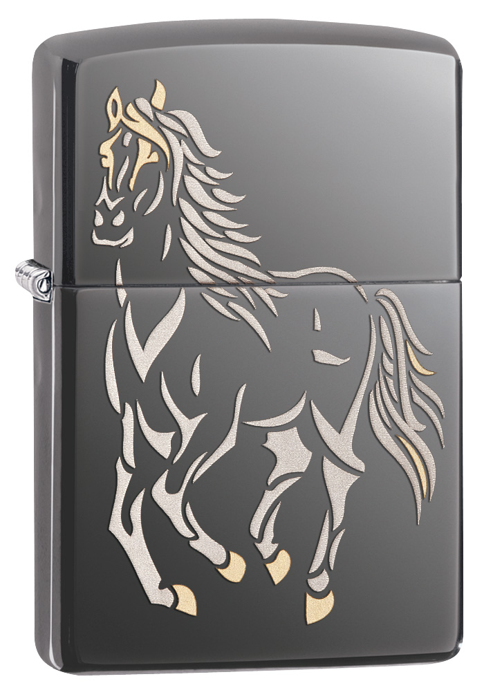 Running Horse High Polished Zippo Lighter