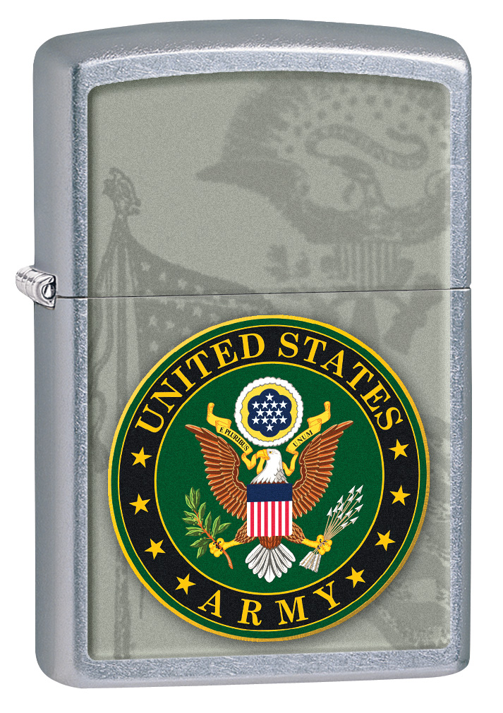 Street Chrome Silver U.S. Army Crest Zippo Lighter