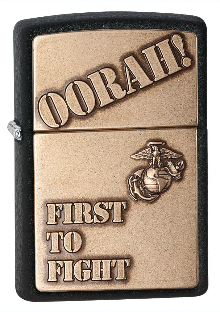 Black Crackle Marine Corp First to Flight Emblem Zippo Lighter