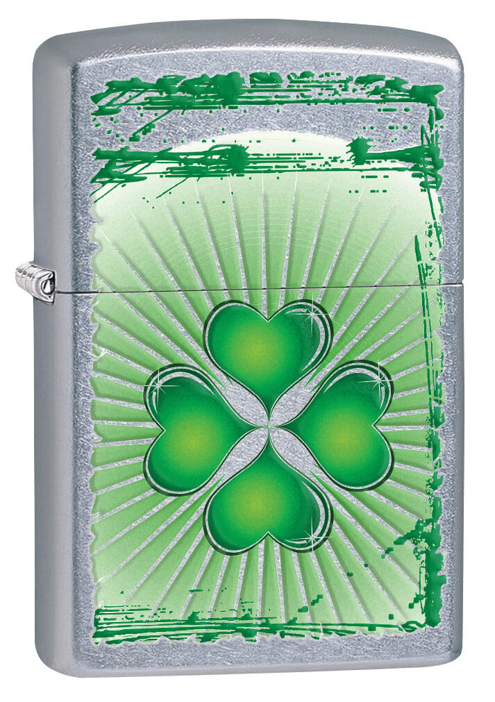 Chrome Silver/Green  Four Leaf Clover Hear Design Zippo Lighter