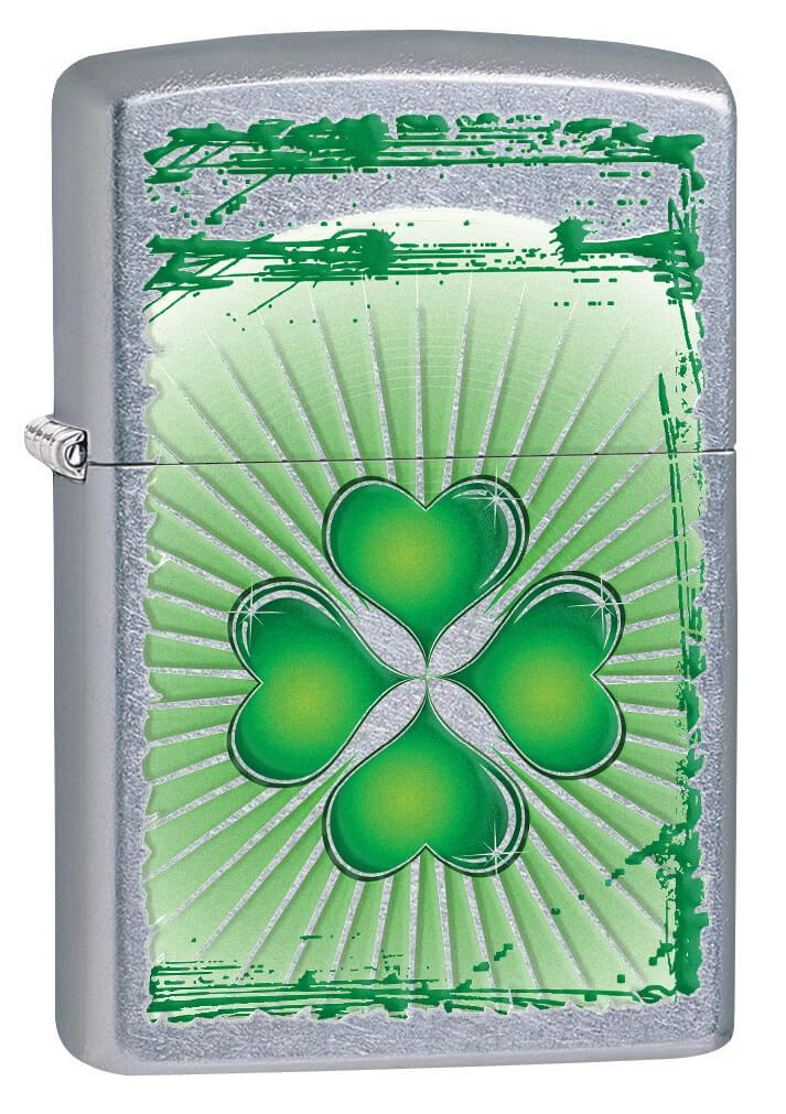 Chrome Silver/Green  Four Leaf Clover Hear Design Zippo Lighter