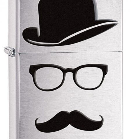 Brushed Chrome Silver Moustache and Top Hat