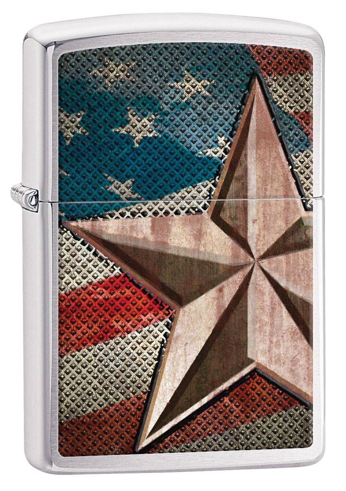 Retro Star Brushed Chrome Zippo Lighter
