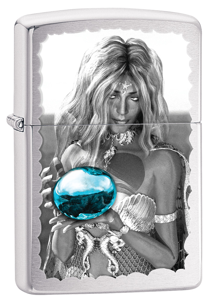 Brushed chrome mermaid holding pearl